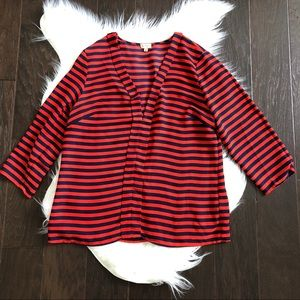 [Nordstrom Cremieux] Red Blue Striped Blouse